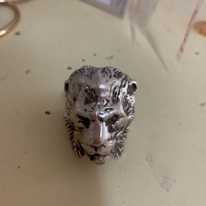 Vintage sterling silver tiger motorcycle ring.